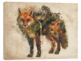 Wood print  Surreal Fox Nature - Barrett Biggers