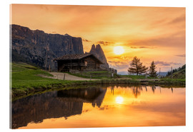 Acrylic glass  Alpe di Siusi with Schlern at sunset - Dieter Meyrl