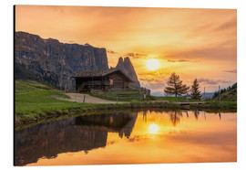 Aluminium print  Alpe di Siusi with Schlern at sunset - Dieter Meyrl