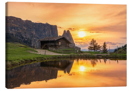 Canvas print  Alpe di Siusi with Schlern at sunset - Dieter Meyrl