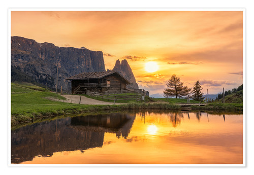 Premium poster Alpe di Siusi with Schlern at sunset