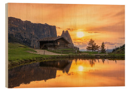 Wood print  Alpe di Siusi with Schlern at sunset - Dieter Meyrl