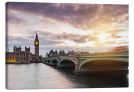 Canvas print  LONDON Westminster Bridge and Big Ben at Sunset - rclassen
