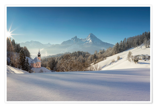 Premium poster Pilgrimage church of Maria Gern with Watzmann in the background