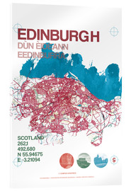 Acrylic print  Edinburgh city map - campus graphics