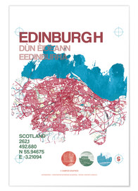 Premium poster  Edinburgh city map - campus graphics
