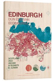 Wood print  Edinburgh city map - campus graphics