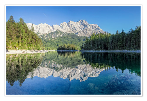 Premium poster Lake Eibsee with Mount Zugspitze