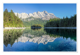 Poster  Lake Eibsee with Mount Zugspitze - Dieter Meyrl
