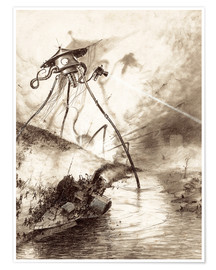 Premium poster Martian Fighting Machine in the Thames Valley