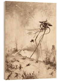 Wood print  Martian Fighting Machine Hit by Shell - Henrique Alvim Correa