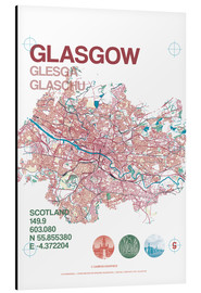 Aluminium print  Glasgow city map - campus graphics