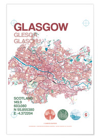 Premium poster Glasgow city map