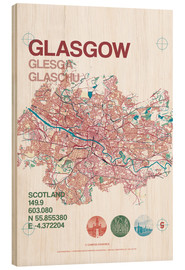 Wood print  Glasgow city map - campus graphics