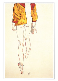 Poster  Standing halfthose with brown shirt - Egon Schiele