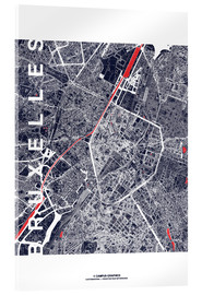 Acrylic print  Brussels map city midnight - campus graphics
