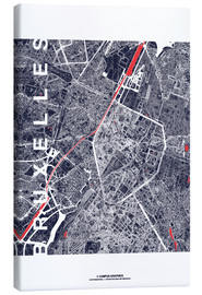 Canvas print  Brussels map city midnight - campus graphics