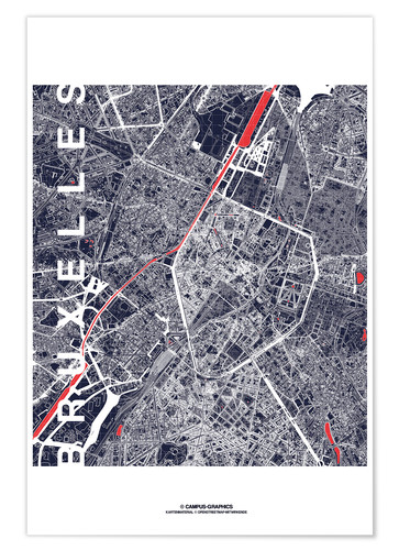 Premium poster Brussels map city midnight