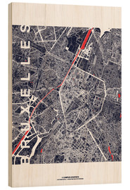 Wood print  Brussels map city midnight - campus graphics