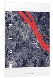 Foam board print  Mainz city map midnight - campus graphics