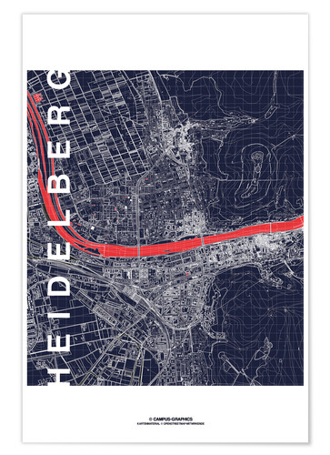 Premium poster Heidelberg map midnight