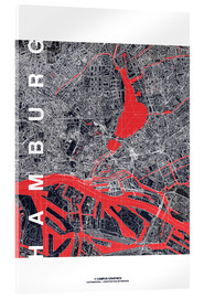 Acrylic glass  Hamburg city map midnight - campus graphics