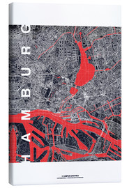 Canvas print  Hamburg city map midnight - campus graphics