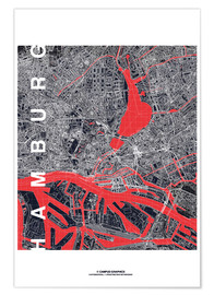 Premium poster  Hamburg city map midnight - campus graphics