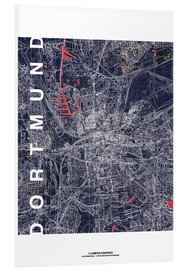 Foam board print  City of Dortmund Map midnight - campus graphics
