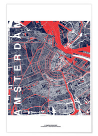 Premium poster City of Amsterdam Map midnight
