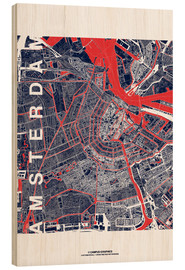 Wood print  City of Amsterdam Map midnight - campus graphics