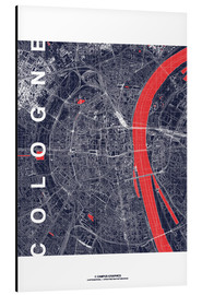 Aluminium print  City of Cologne Map midnight - campus graphics