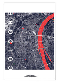 Premium poster City of Cologne Map midnight
