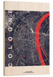 Wood print  City of Cologne Map midnight - campus graphics