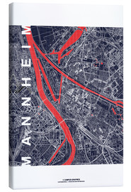 Canvas print  City of Mannheim Map midnight - campus graphics