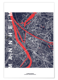 Premium poster City of Mannheim Map midnight