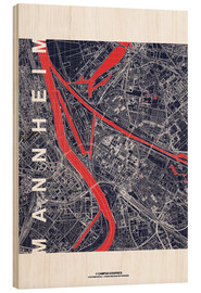 Wood print  City of Mannheim Map midnight - campus graphics
