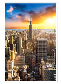 Premium poster Sunset over Manhattan, New York City