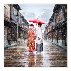 Poster  Japanese wedding parade in winter in Kanagawa, Japan - Jan Christopher Becke