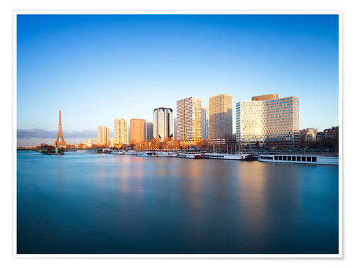 Premium poster Its banks in Paris with skyline and Eiffel Tower