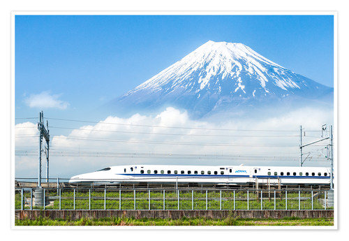 Premium poster Japanese bullet train passes Mount Fuji