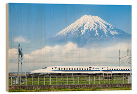 Wood  Japanese bullet train passes Mount Fuji - Jan Christopher Becke