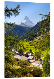 Acrylic print  View of Zermatt and the Matterhorn, Swiss Alps, Switzerland - Jan Christopher Becke