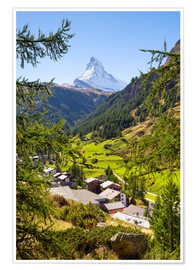 Premium poster View of Zermatt and the Matterhorn, Swiss Alps, Switzerland