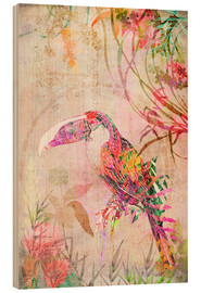 Wood print  Toucan in tropics - Ella Tjader