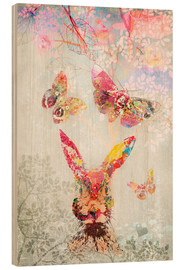 Wood print  Butterflies and Hare - Ella Tjader