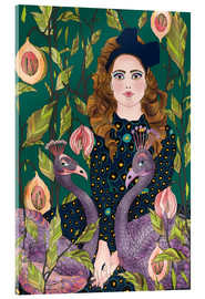 Acrylic print  Portrait with peacocks - Ella Tjader