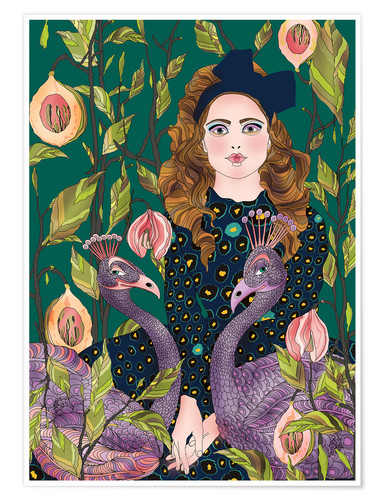 Poster Portrait with peacocks