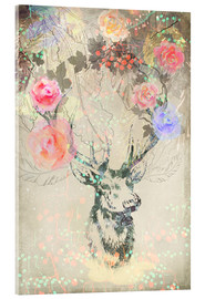 Acrylic glass  Deer in roses - Ella Tjader