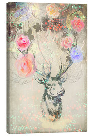 Canvas  Deer in roses - Ella Tjader